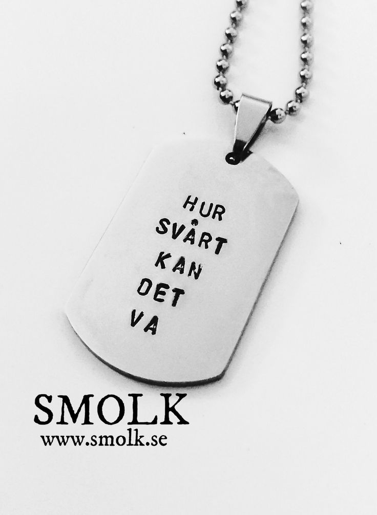 HUR SVÅRT KAN DET VA via SMOLK -Handstamped jewelry with a twist. Click on the image to see more!