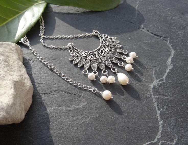 IDEES CADEAUX NOEL, bijou fêtes, collier bohème chic, ethnique, perles d'eau douce, support argent tibétain : Collier par lapassiondisabelle