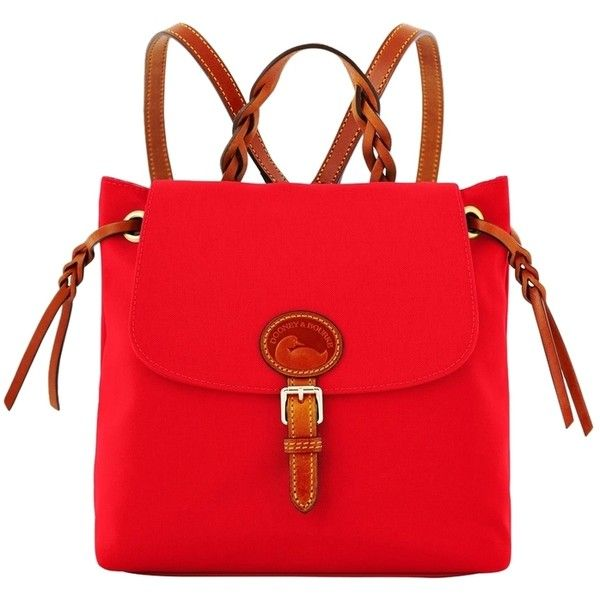 Pre-owned Dooney & Bourke Nylon Flap Backpack ($139) ❤ liked on Polyvore featuring bags, backpacks, red, nylon bag, pre owned bags, flap backpack, nylon backpack and strap bag