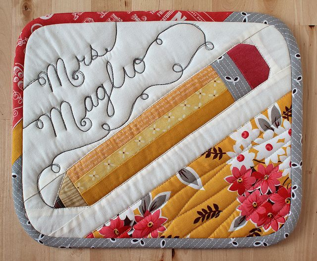 Pencil MugRug by PatchworkPottery, via Flickr