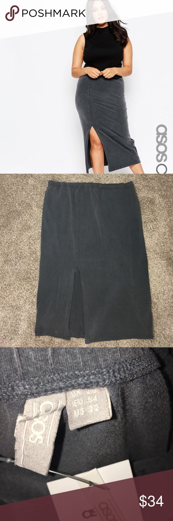 ASOS long side slit faded grey skirt NWT comfy skirt! Sexy with a side slit! ASOS Curve Skirts Maxi