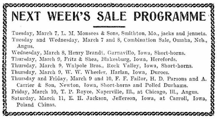 Homestead - Thursday, March 02, 1905 - Sale Programme