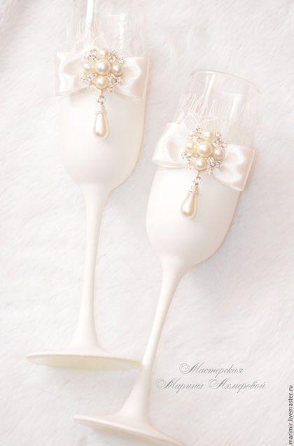 Wedding glass / Свадебные аксессуары ручной работы. Ярмарка Мастеров - ручная работа. Купить Свадебные бокалы молодых. Handmade. Бежевый, нежность