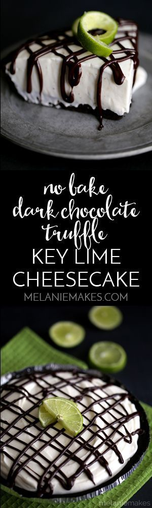 Spring means starting fresh and bright citrus flavors and that's exactly what this No Bake Dark Chocolate Truffle Key Lime Cheesecake brings to the table. An Oreo crust and a chocolate ganache drizzle pair perfectly with the luscious lime filling of this no bake cheesecake.