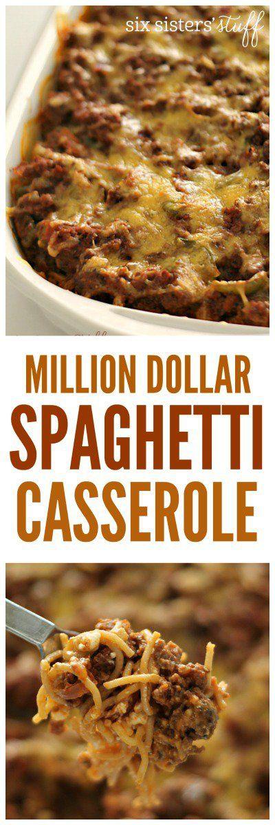 Million Dollar Spaghetti Casserole on SixSistersStuff.com