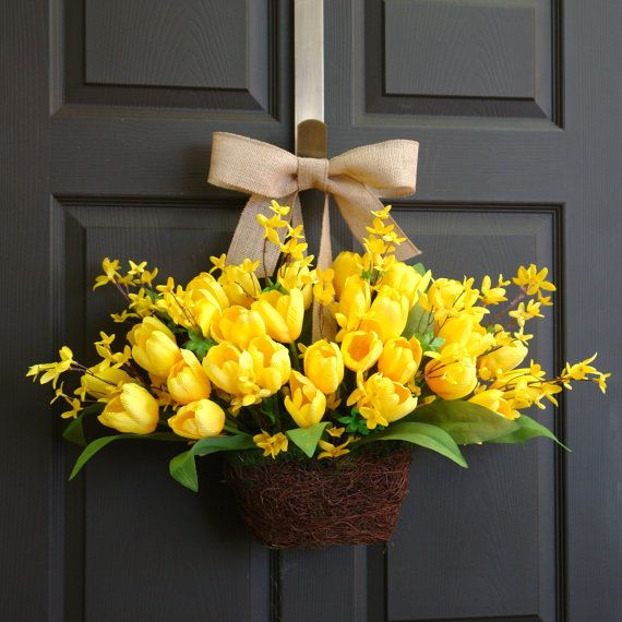 spring tulips wreath yellow tulips forsythia wreaths by aniamelisa, $79.00
