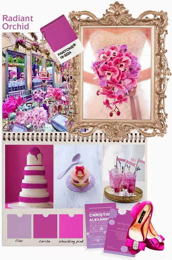 pantones pick for colour of the 2014 : radiant orchid. Our take on wedding ideas