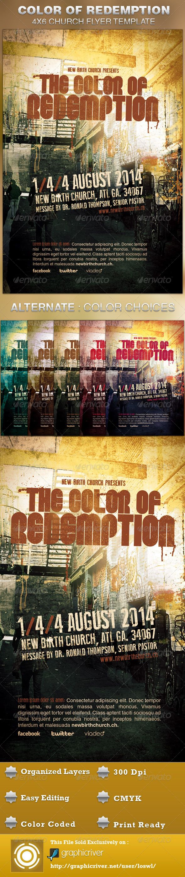 The Color of Redemption Church Flyer Template is great for any Church Event. Use it for Gospel Concerts, Pageants, Musical Events and Sermons, etc. The layered Photoshop files are color coded and organized in folders for easy editing. The file also contains 6 – One Click Color options.$6.00