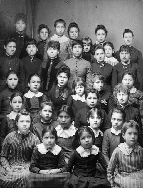 Boarding school victims. Creek students at the Indian Mission School in Muskogee, Oklahoma - 1888