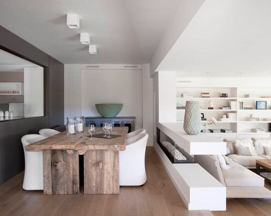 Lovely Oceanic Theme Brought to Modern Beach House: Wide Wood Table, A White Chair, A Wood Floor View Near A Cozy Area