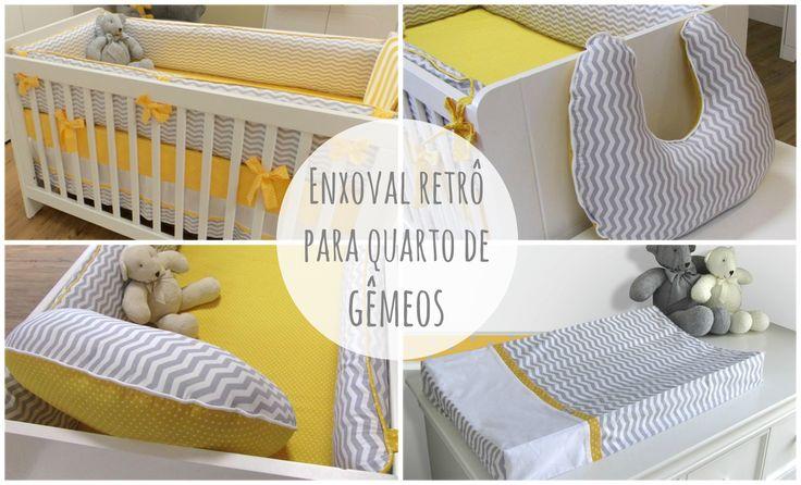 Enxoval retro para quarto de gêmeos: http://www.gemelares.com.br/2015/01/enxoval-retro-para-quarto-de-gemeos.html