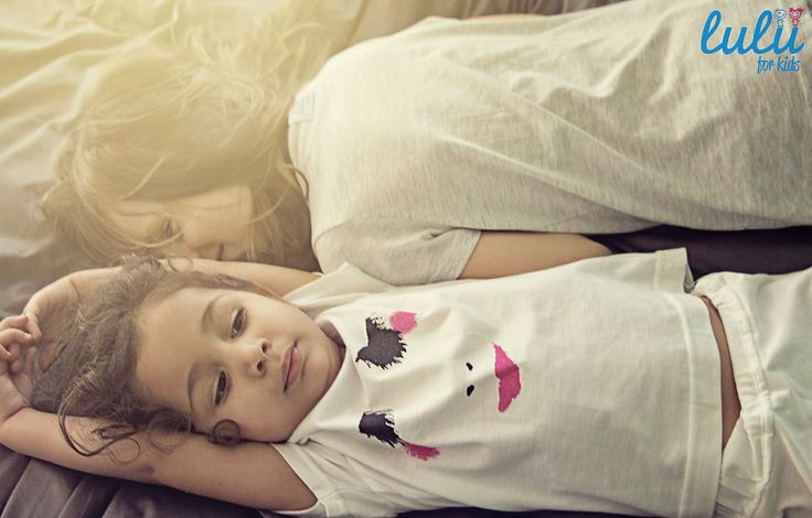 Sleeping beauty not so sleepy ;) White t-shirt with a sweet print for bigger and smaller.