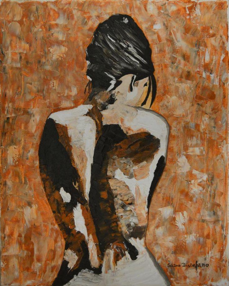 Semplicemente Donna Olio e spatola su tela cm. 40x50x2  La schiena è una bellissima tela Su cui dipingere (Anonimo) - Nel si...