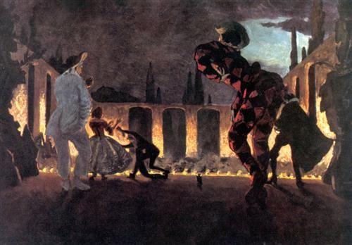 "Alexandre benois ~Italian comedy. ""Indiscreet Punchinello""1906"