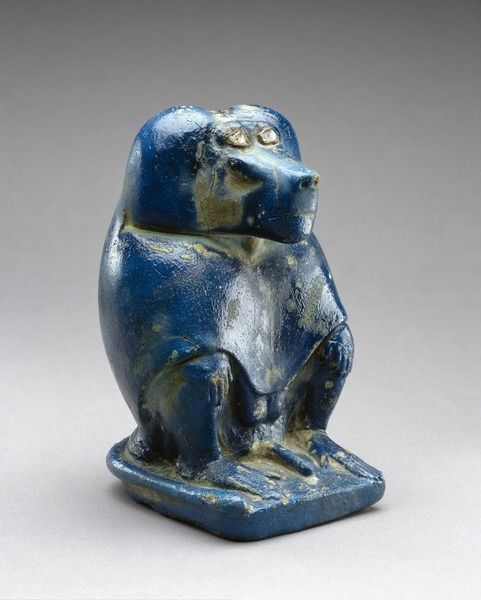 Thoth, God of Writing and Knowledge, as a Baboon. Egyptian Faience. Late Period, 26th Dynasty, 664-525 BC. Museum of Fine Arts, Houston, Texas.