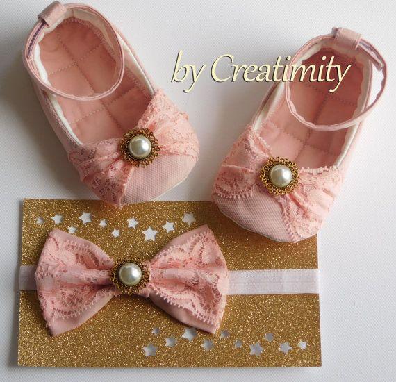 Salmon pink baby girl shoesflower girl by CreatimityElegance