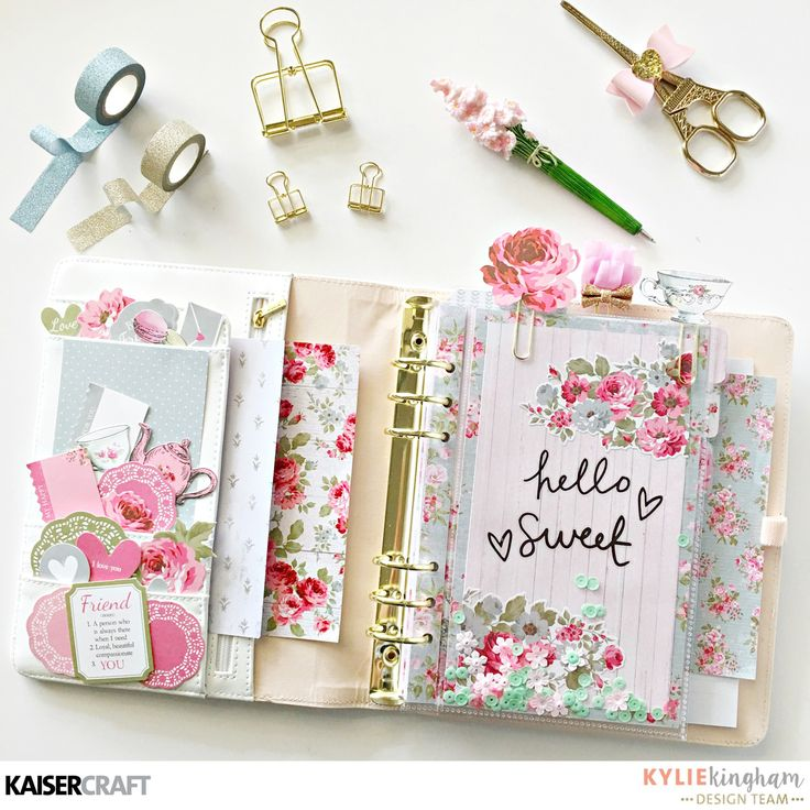 Hello lovelies, Kylie with you all again today. I'm talking planners today and I'm going to show you how I create some unique accessories for my planner!I'm going to be using the new 'High Tea' collection. I adore this collection with its delicate florals and pastels…..It screams KYLIE! Several months ago Kaisercraft released a superb range of planners.Have you seen them?? Let me refresh your memory…. Each planner already comes with beautiful inserts and dividers.But wouldn't it be fun to…