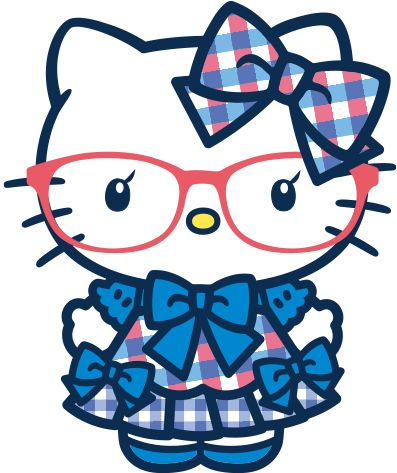 Sanrio: Hello Kitty in Plaid Blue Bows (frontal view)