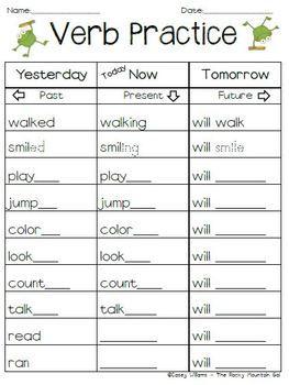 verb practice past present future tense 2nd grade verb tenses grammar language. Black Bedroom Furniture Sets. Home Design Ideas