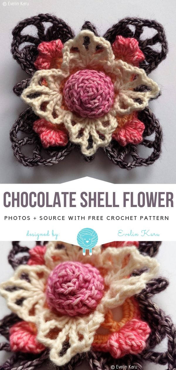 Schokoladen Shell Blumen Geben Häkelanleitung Frei Häkeln