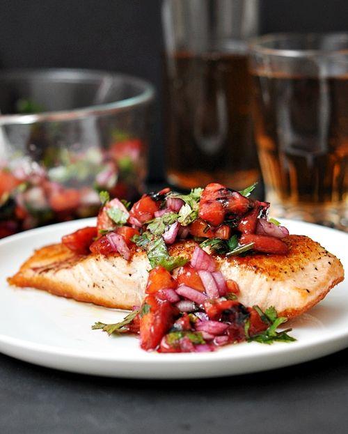 Salmon with tamarillo salsa