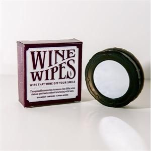 Wine Wipes Compact includes 15 Wine Wipes in a mirrored compact. Wine Wipes are a quick and easy wipe to remove red wine stains from teeth, while protecting tooth enamel from acids in wine. Wine Wipes
