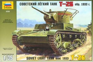 ZVEZDA Model Tank Kit 3538 Russian Soviet Light Tank T-26 1/35 Scale