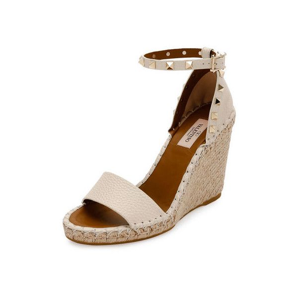 Valentino Rockstud Double Espadrille Wedge Sandal (£605) ❤ liked on Polyvore featuring shoes, sandals, strappy platform sandals, platform wedge sandals, ankle strap sandals, woven wedge sandals and open toe sandals