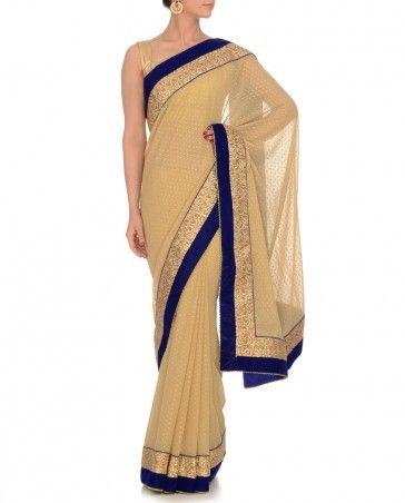 Beige Sari with Swiss Dots