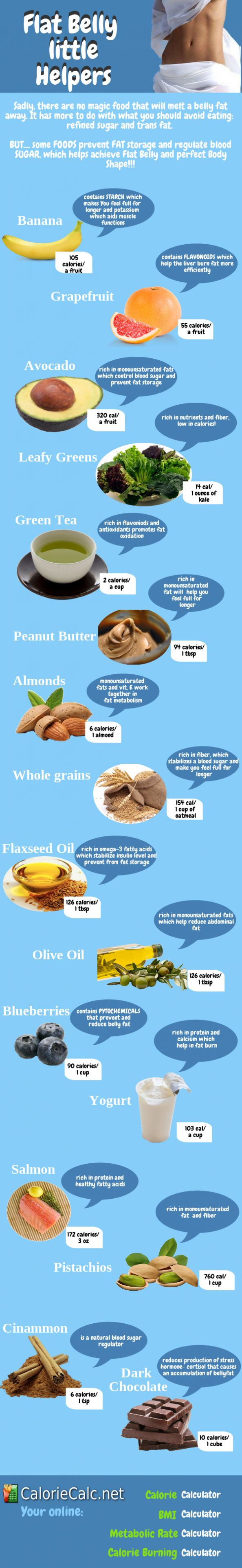 Flat Belly little helpers #Infographic - lol - I eat a lot of these my belly isn't 'flat'