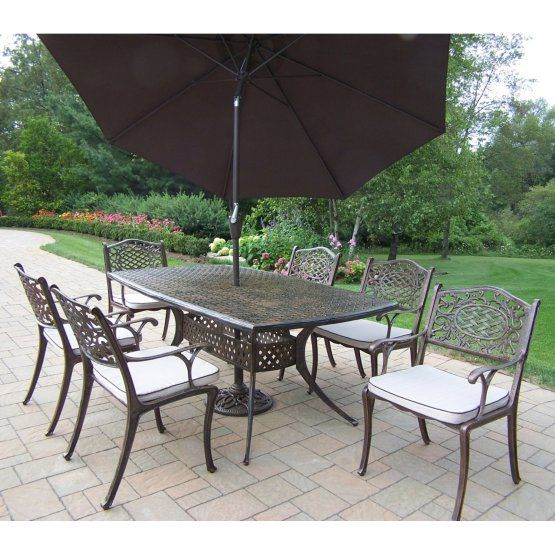 Oakland Living Oxford Mississippi Cast Aluminum Patio Dining Set with Tilting Umbrella and Stand