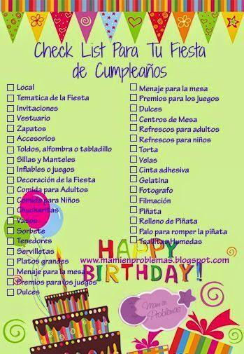 Lista para fiesta infantil http://tutusparafiestas.com/lista-fiesta-infantil/ List for children's party #Fiestainfantil #listafiestainfantil #listaparacumpleaños #listaparafiestainfantil #listaparaorganizarfiesta #organizarcumpleaños #organizarfiesta