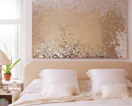 A little glitz for a white and cream bedroom.