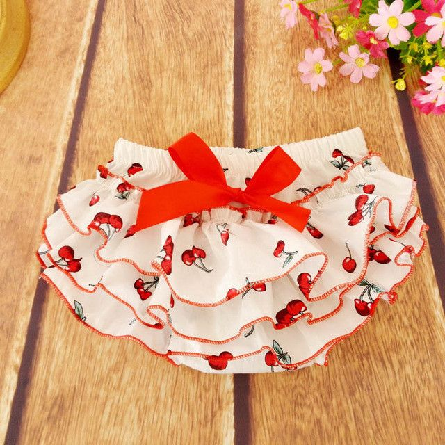 Hot sale girls underwear floral briefs panties cherry baby kids short 100% cotton panties size 0-24M