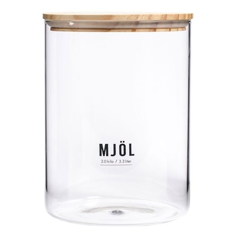 Glasburk med trälock MJÖL 3,0KG/3,3L