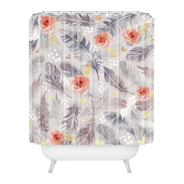Floral Shower Curtain Gray - Deny Designs