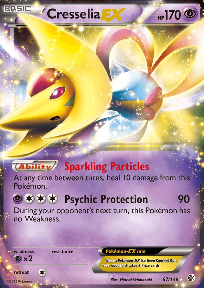 Ability: Sparkling Particles At any time between turns, heal 10 damage from this Pokemon. [P][C][C][C] Psychic Protection: 90 damage. During your opponent's next turn, this Pokemon has no Weakness.