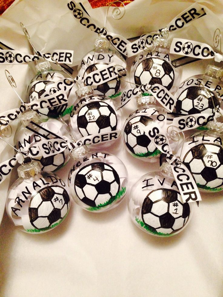 Soccer Christmas ornaments hand painted for the team!