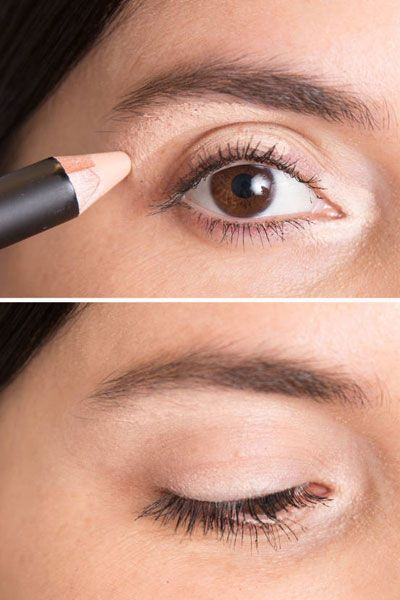 "Use a concealer that's slightly lighter than your skin tone to line three tiny sections of your eyes: the inner ""V,"" the middle section of your eyelid, and just below your brow bone. Lightly blend for instantly well-rested eyes and a highlight that looks natural. Great for days when you didn't get enough sleep."