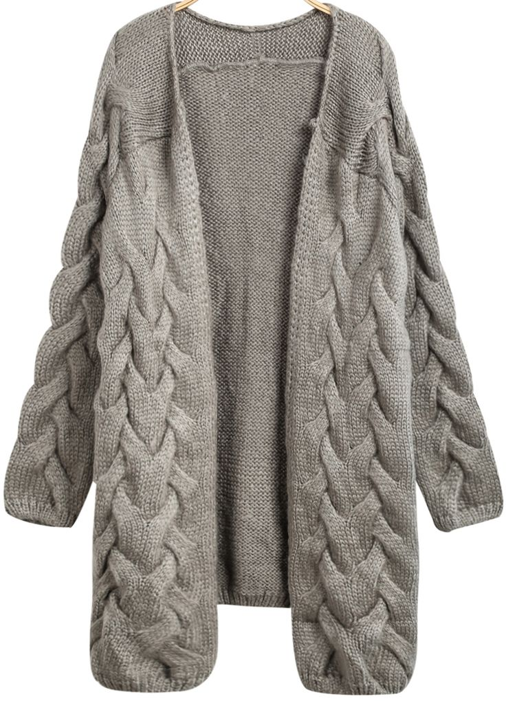 Grey Long Sleeve Cable Knit Loose Cardigan - Sheinside.com