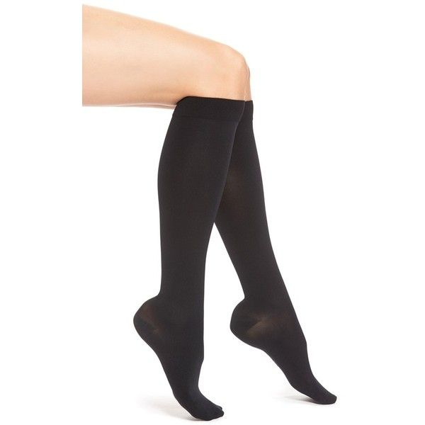 ITEM m6 Opaque Compression Knee High Socks ($49) ❤ liked on Polyvore featuring intimates, hosiery, socks, black, knee hi socks, knee-high socks, compression hosiery, knee high compression socks and item m6