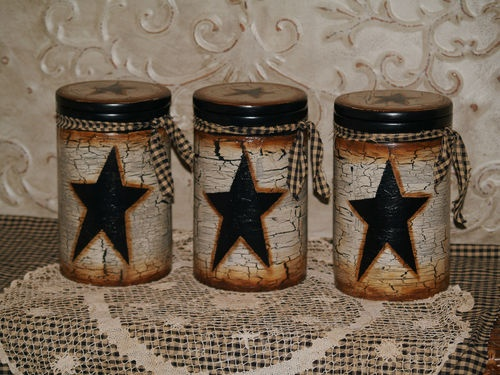Cowboy Country Farm House, Handpainted Primitive Star Canister Set of 3 Tall | eBay