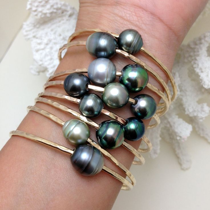 SPECIAL Tahitian Pearl Bangle 14kt Gold Filled 12 Gauge. $95.00, via Etsy.