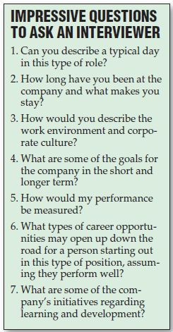 One of the trickiest parts of an interview...what question should you ask your interviewer?!  Check out these great suggestions!