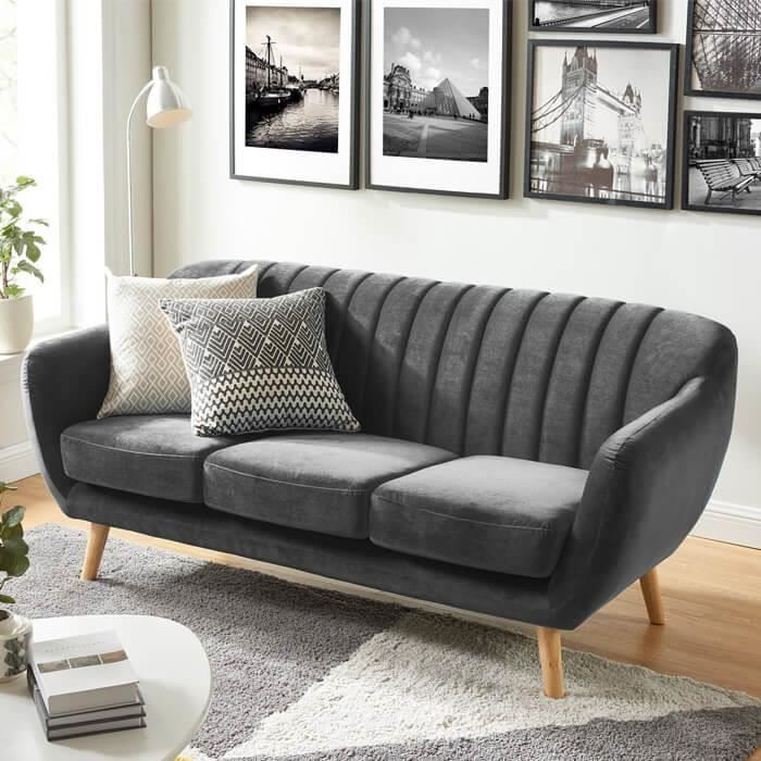 Canape Scandinave 3 Places En Velours Gris Collection Odda Achat Vente Canape Sofa Divan Soldes Des Le 2 Canape Scandinave 3 Places Canape Scandinave Et Meuble