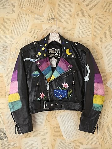 Vintage Fanny Bostrom Hand-Painted Leather Jacket