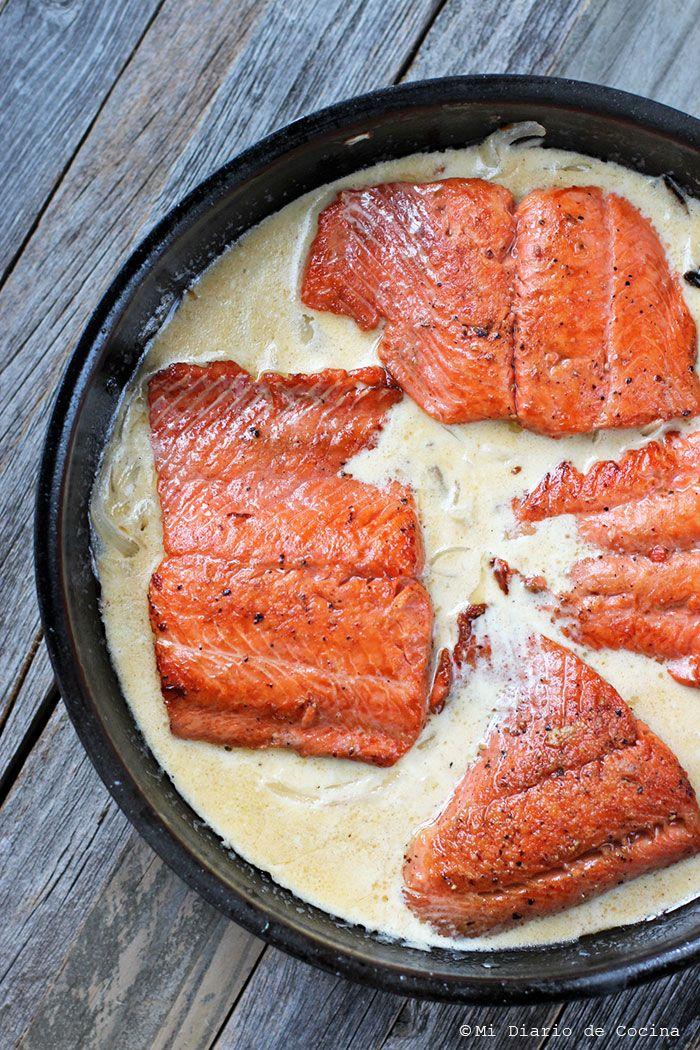 Salmon in cream sauce #AskForAlaska #Ad #IC #recipe