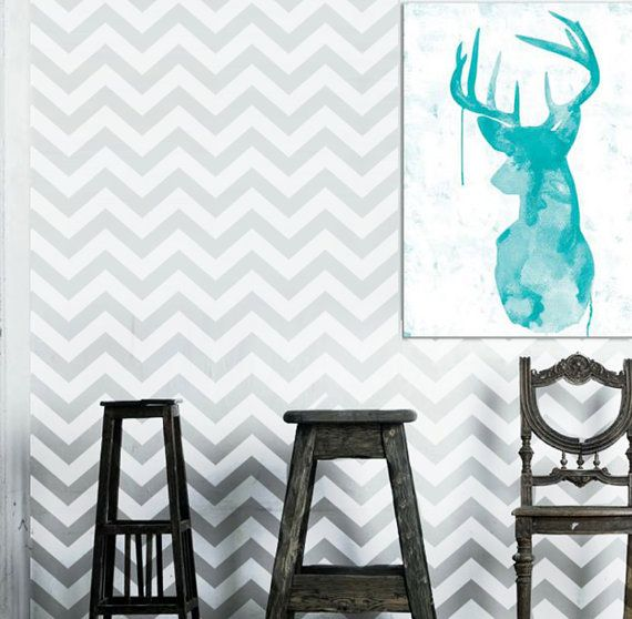 Wall Stencil  Geometric Chevron Zig Zag  Pattern Wall Room Decor Made by OMG Stencils Home Improvements Color Paintings 0015 on Etsy, R$75,86