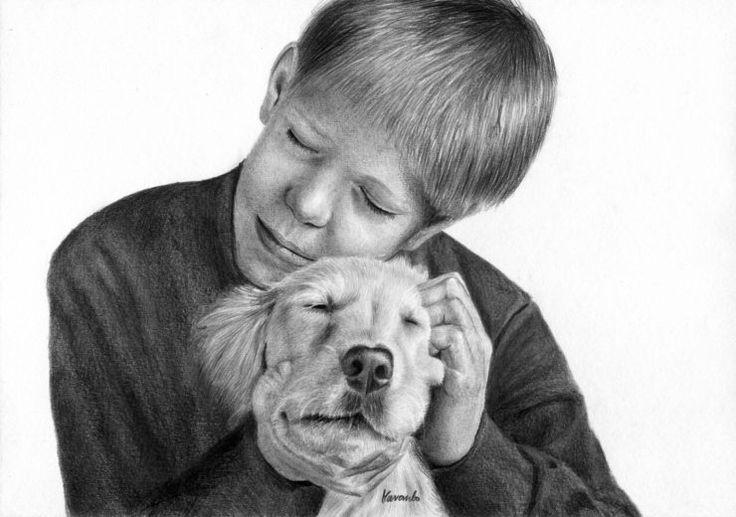 Rysunek chlopca z psem.