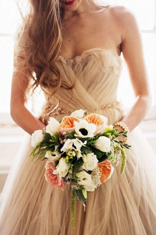 blush tones | garden roses + anemones